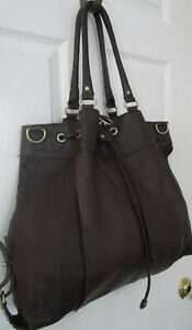 BCBG-MAXAZRIA-Large-Brown-Leather-Shoulder-Bag-Purse-Great-Cond