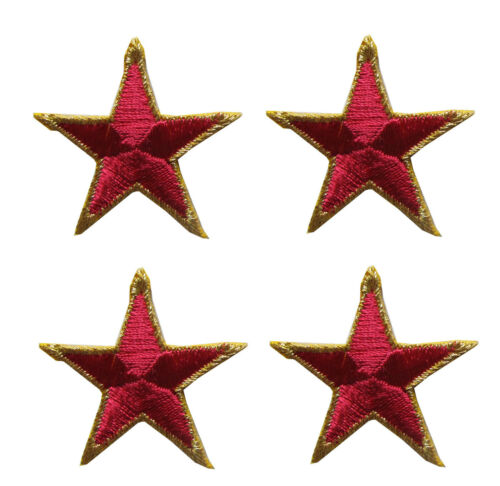 Lot 4Pcs Embroidery Iron On Magenta Star w//Golden Edge Applique Patch