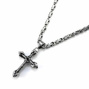 Edelstahl-Halskette-Kreuz-Anhaenger-mit-Tiefschwarzer-Zirkonia-Zweifarbig