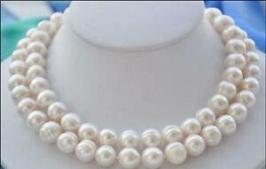 Double-strands-AAA-11-10MM-SOUTH-SEA-WHITE-PEARL-NECKLACE-14K-GOLD-CLASP-18-19