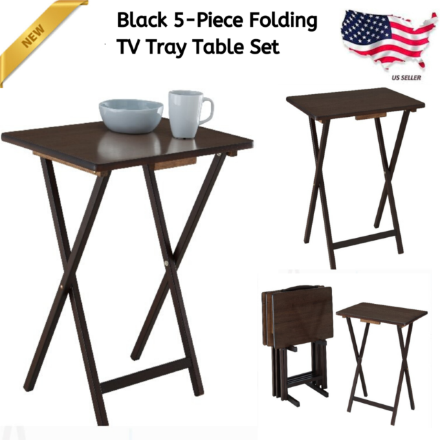 Mainstays 2 Pack Folding Tv Tray Table Set In Walnut For