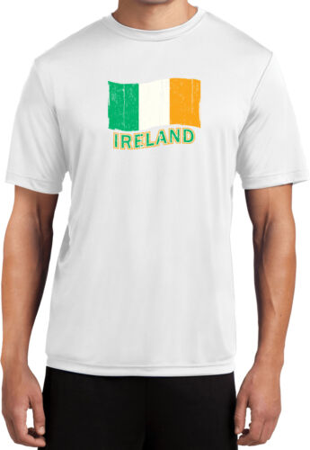 Mens St Patricks Day Distressed Irish Flag Moisture Wicking T-Shirt