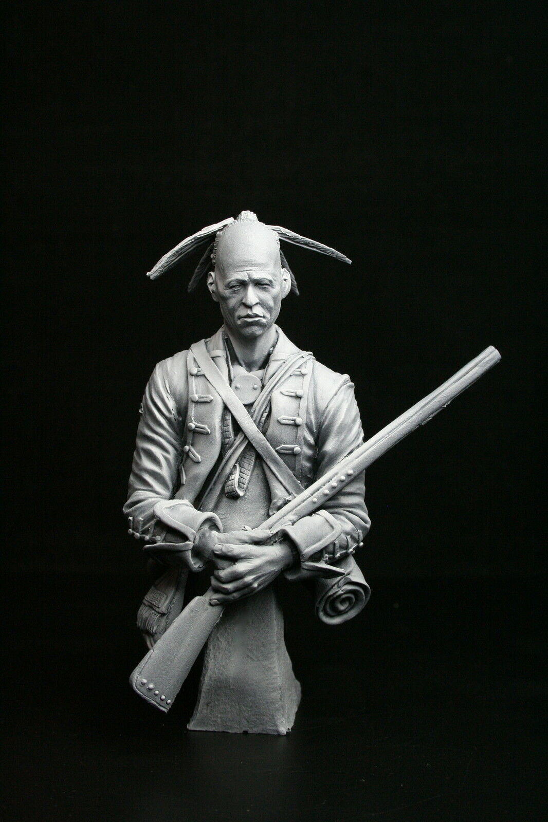 200mm 1 9 bust Woodland Indian 1770, sculpted by Carl Reid