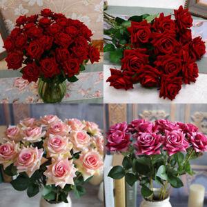 Am-BL-1x-Rose-Fake-Silk-Flowers-Leaf-Artificial-Home-Wedding-Decor-Bridal-Bouq