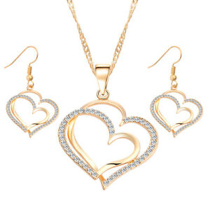 Image is loading Women-Silver-Gold-Austrian-White-Crystal-Heart-Necklace- d36a18707a9d