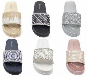 Womens-Sliders-Casual-Slippers-Mules-Ladies-Diamante-Flip-Flop-Sandals-Shoes