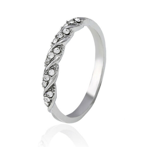 Glamour Women Titanium Stainless Steel Crystal Rhinestone Wedding Band Ring by Unbranded