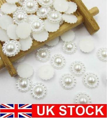 Responsabile Avorio/bianco Girasole Flatback 10 Mm Perline Artigianato Decorazioni Matrimonio Invito- Delizie Amate Da Tutti