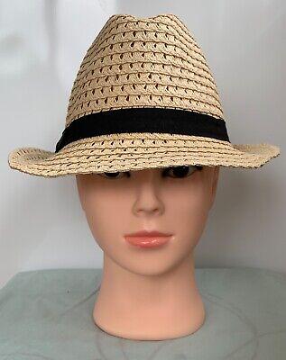 * Monsoon Accessorize * Da Donna Beige Carta Paglia Fedora Hat Con Finiture Nero 55cm-mostra Il Titolo Originale