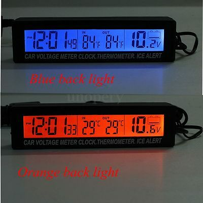 12V 3 In 1 Car Digital Clock Time Thermometer Battery Voltage Monitor Meter NEW