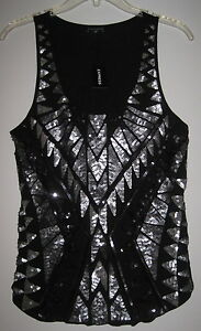 NWT-EXPRESS-GEOMETRIC-AZTEC-TRIBAL-SILVER-PEWTER-SEQUIN-BLING-TANK-TOP-SHIRT