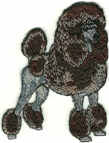 """2 1//2/"""" x 3 1//4/"""" Standing Chocolate Brown Poodle Dog Breed Embroidered Patch"""