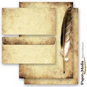 ALTES-PAPIER-MIT-FEDER-20-tlg-Motiv-Briefpapier-Set