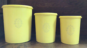 3 Vintage TUPPERWARE Servalier Harvest Gold Yellow Nesting Canisters 811 809 805
