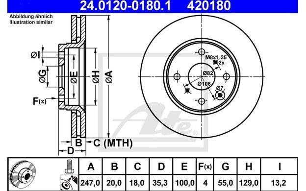 ATE Juego de 2 discos freno Antes 247mm ventilado para CITROEN C1 24.0120-0180.1