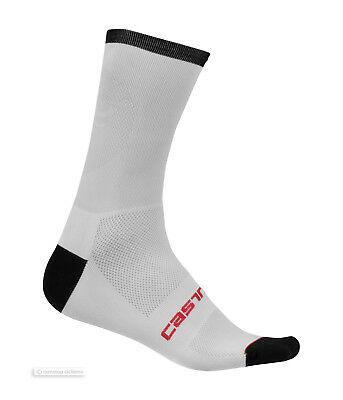 Castelli ROSSO CORSA 13 cm Tall Cycling Bicycling Socks WHITE//FLUO One Pair