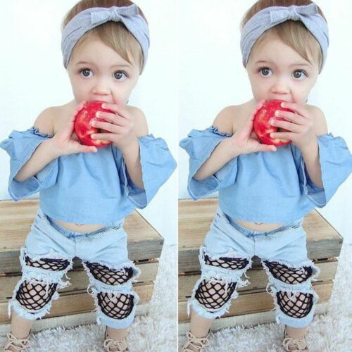 Baby Outfits Set Off Shoulder Tops Girls Clothing Set Denim Pants Hole Jeans