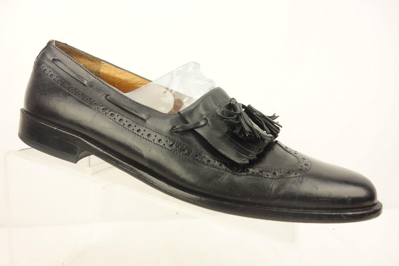 JOHNSTON & MURPHY Black Leather Slip On Loafer shoes Double Tassel Mens SZ 11.5 N