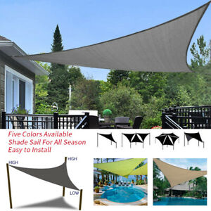 Details About Large Triangle Waterproof Sun Sail Shade Awnings Garden Cover Courtyard