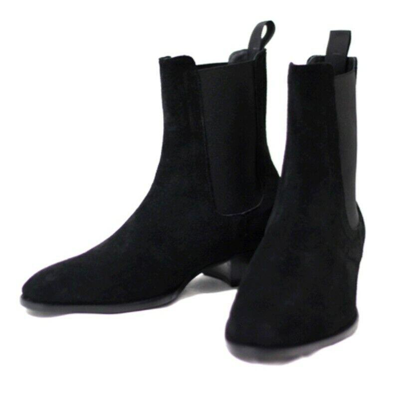 Para Hombre Hecho a Mano Bajo Bloque Talón Slip On Puntera en Punta De Cuero Chelsea botas De Moda