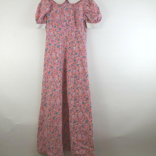 Vintage Handmade Pink Floral Maxi Dress XS Peter Pan Collar Modest