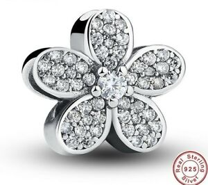 98061c123 Image is loading 925-Silver-Sterling-Dazzling-DAISIES-Crystal-Charm-Fits-