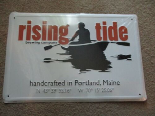 RISING TIDE portland maine cutter METAL TACKER SIGN craft beer brewery brewing