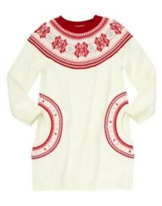 GYMBOREE REINDEER FAIR ISLE RED FAIR ISLE SWEATER DRESS 3 4 5 7 8 ...