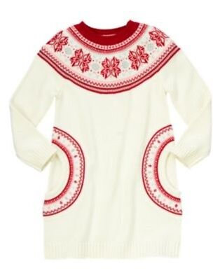 NWT Gymboree Fair Isle Flurry Fox Heart Fair Isle Sweater Dress Girl 6 7 8 10 12