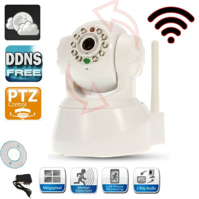 Wireless IP P2P Camera WiFi Security System Nightvision 2-Way Audio DDNS White