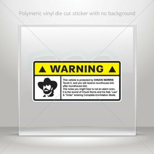 DECALS Décalcomanie Carlos Ray Chuck Norris Warning protection voiture st7 2229X