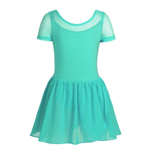 Mädchen Kleid Kinder Mesh Kurzarm Elegantes Ballettkleid mit Chiffon Röckchen