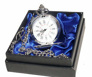 Personalizzata-INCISA-ARGENTO-Orologio-Tasca-Catena-scatola-regalo-blu-in-raso-matrimonio-regalo