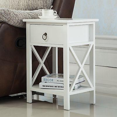 White Sofa End Side Bedside Table Nightstand Storage Wood Bedroom w/Drawer Shelf