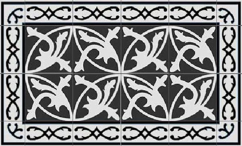 24 echte Zementfliesen Fliesen Fliesenbild Vintage Bodenplatten schwarz weiß