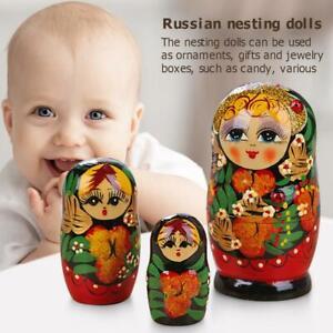 5pcs Russian Nesting Girl Dolls Matryoshka Babushka Handmade Painted Sets