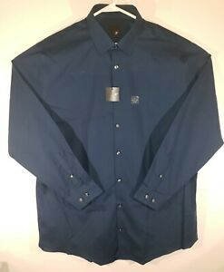 J-Ferrar-Slim-Fit-Blue-Button-Down-Mens-Dress-Shirt-Size-XL-17-17-5-34-35