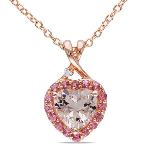 2ct Heart Cut Peach Morganite Pink Sapphire Halo Pendant 14k pink gold Finish