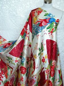 100% Silk Charmeuse Fabric Peacock Red Blue 2 Yards