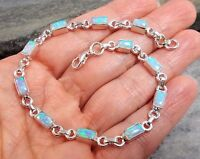 925 Silver Created Fire Opal Bracelet B587silverwaveuk Jewellery