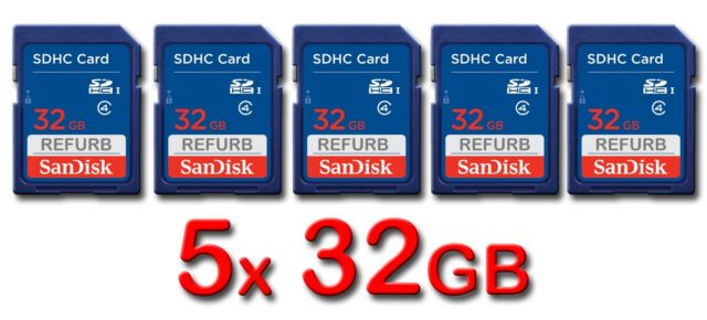 LOT 5x SanDisk SD 32GB Class 4 SDHC Card SDSDB-032G-B35 memory card 32 GB 5 x
