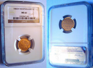 2-NEWFOUNDLAND-CANADA-GOLD-COIN-1882-H-VICTORIA-certified-MS61