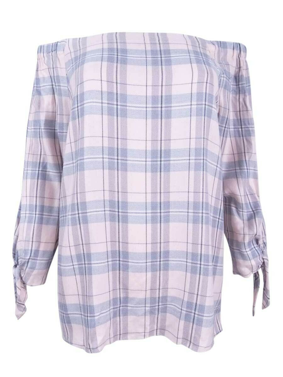 Two by Vince Camuto Woherren Plaid Off-The-Shoulder Top