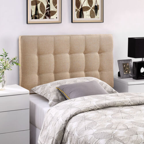 Tufted Upholstered Fabric Square Twin Size Headboard in Beige