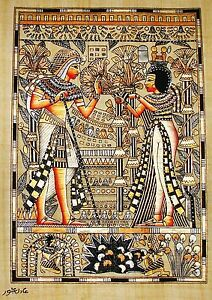 Egyptian-Hand-painted-Papyrus-Signed-Art-King-Tut-amp-Queen-Wedding-Scene-12-034-x16-034