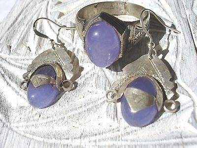 Blue agate Niger Tuareg silver earrings +  ring UKZ jewellery set