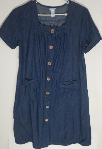 Vtg Vicki Blue Womens Short Sleeve denim Dress mu… - image 1