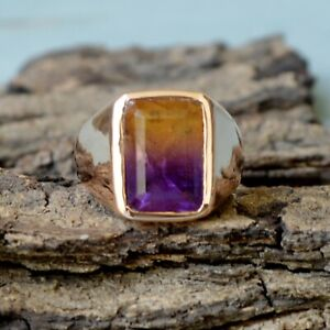 Faceted-Dark-Ametrine-Quartz-Gemstone-Sterling-Silver-Rose-Gold-Plated-Ring