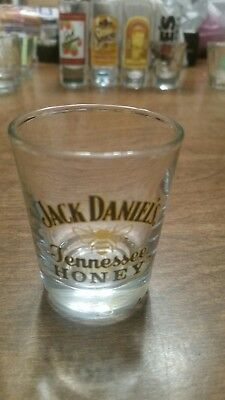 Vintage Jack Daniel\u2019s Tennessee Honey Whiskey Shot Glass Black Yellow Bee Home Bar
