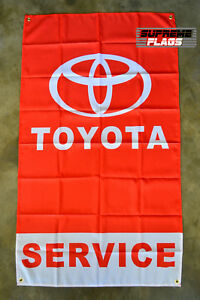 Toyota Service Flag Banner 3x5 ft Automotive Shop Car Mechanic Wall Garage Red